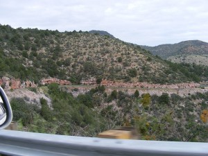 Twisty-turny high mountain roads, from Prescott to Jerome. The stripe is the next segment of road